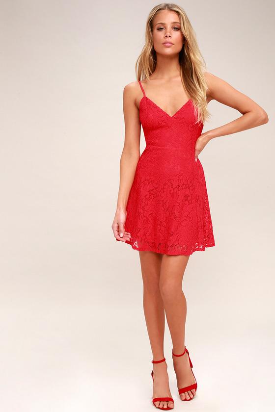 67fe76eaecf Cute Red Lace Skater Dress - Red Lace Mini Dress