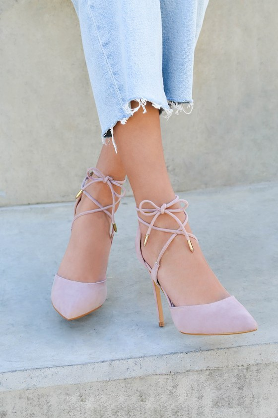 Lulus Dani Dusty Rose Suede Lace-Up Heels - Lulus uGO7CTuAr