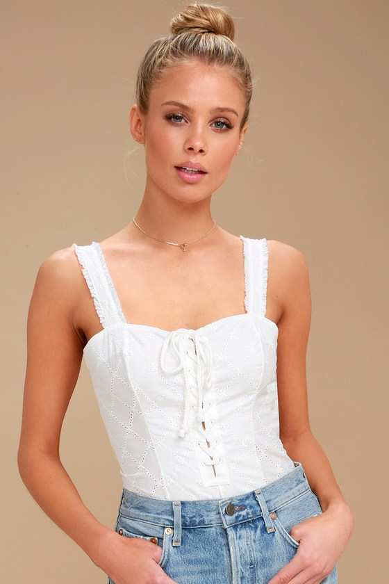 Free People Make Me Up - Ivory Lace-Up Bodysuit - Ivory Top 4ed3d75a0