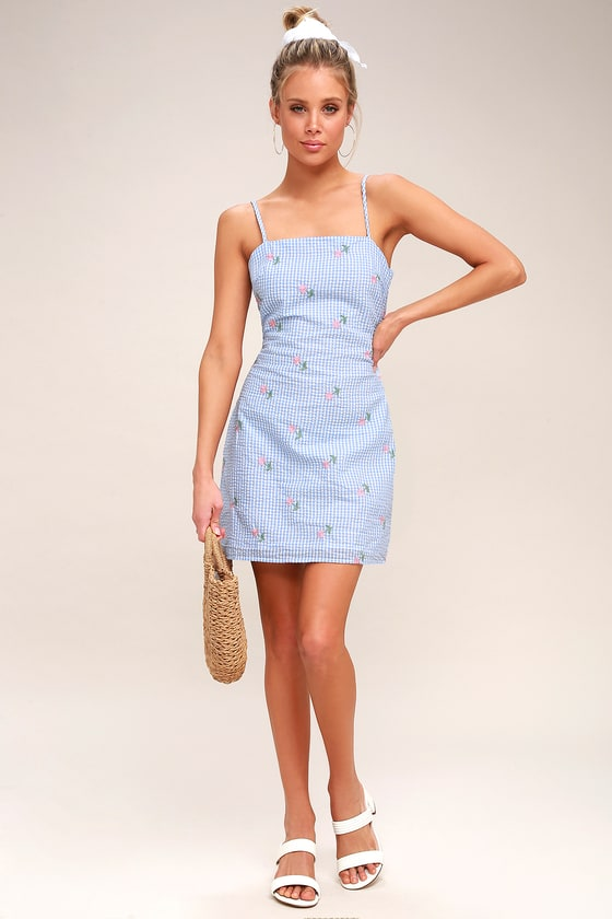 60d345c538 Fairgrounds Light Blue and White Gingham Embroidered Dress