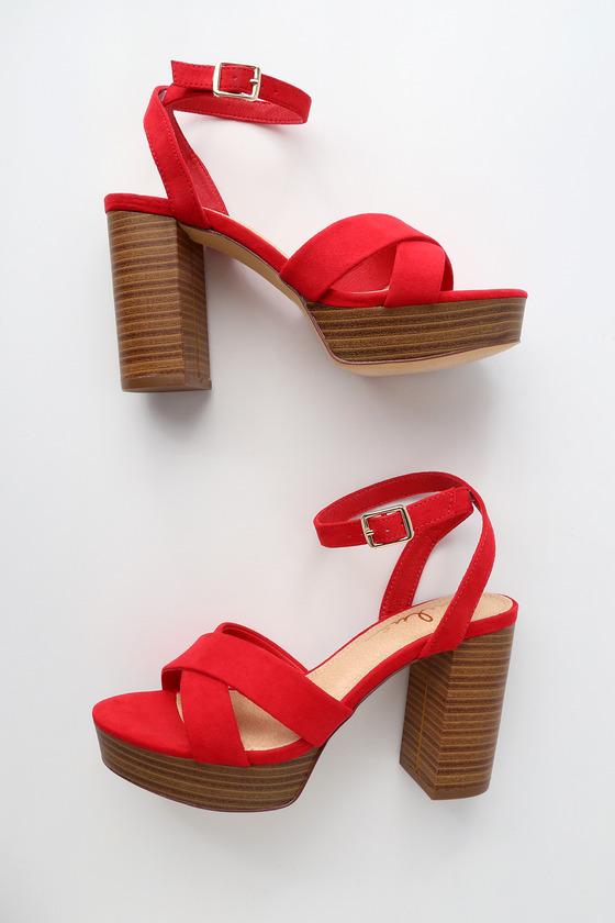 Lulus Shae Suede Platform Ankle Strap Heels - Lulus KeeaoAnZ7c