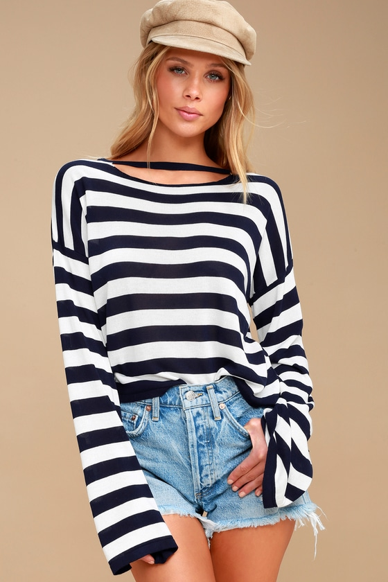 Cute Striped Sweater - Navy Blue and White Sweater fa5ef8789