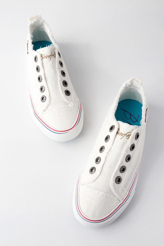 Play White Linen Slip-On Sneakers! - Trendy Cute Shoes