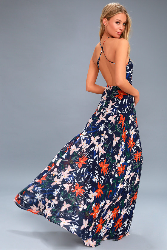 Next-Door Neighbor Navy Blue Floral Print Backless Maxi Dress