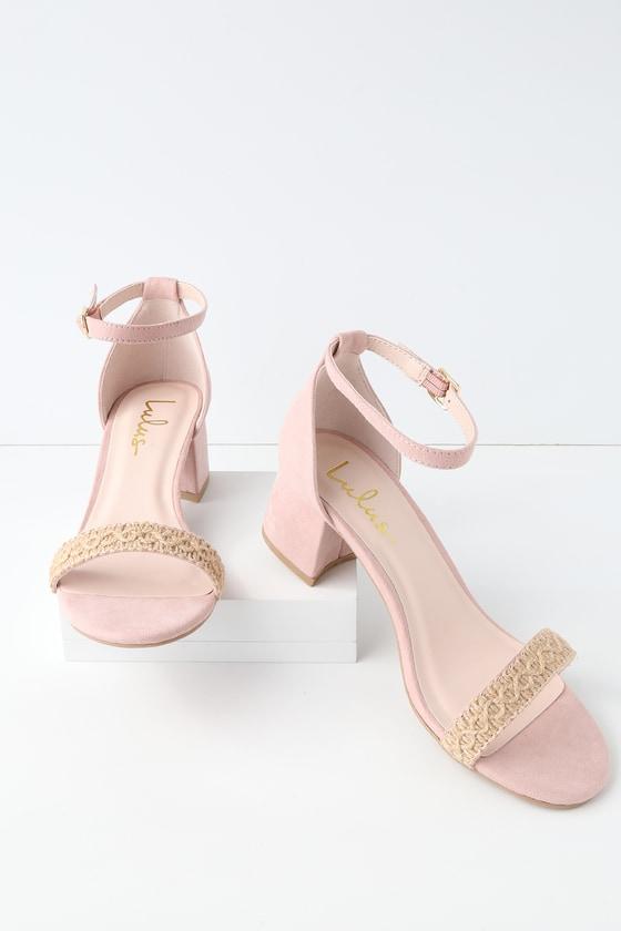 ece37656b Cute Blush Suede Heels - Vegan Heels - Woven Heels