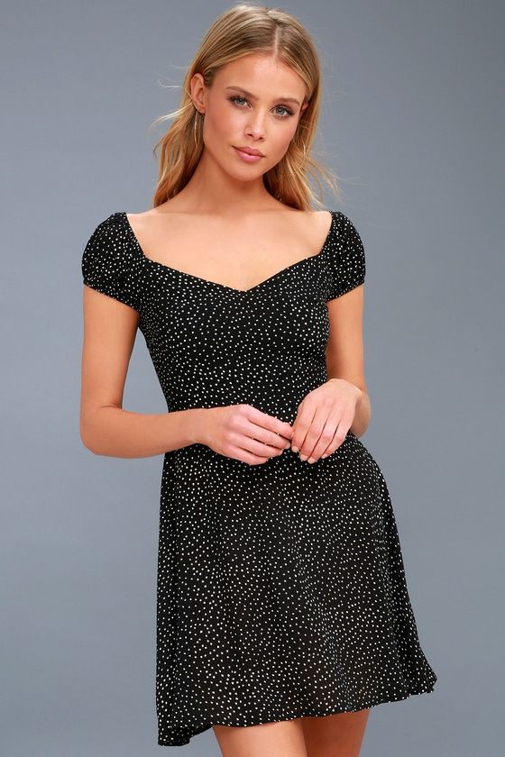 low priced official images where can i buy Black and White Polka Dot Skater Dress - Polka Dot Dress