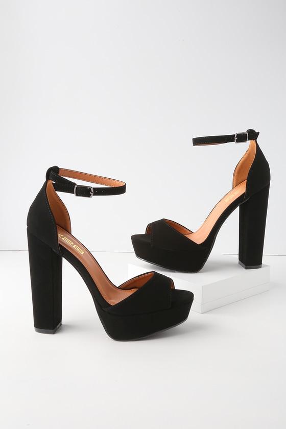 6f0839220ca9 Sexy Black Heels - Vegan Leather Heels - Platform Heels
