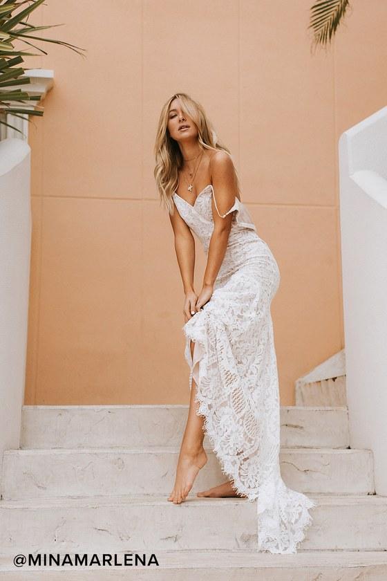 Flynn White Lace Maxi Dress - Lulus
