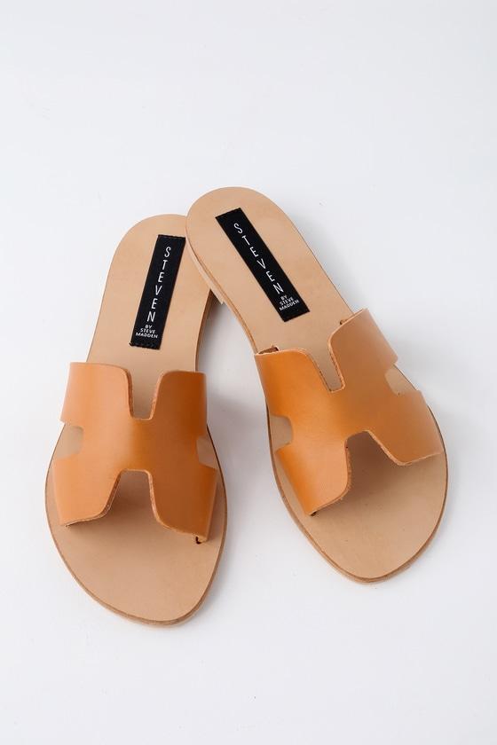 Greece Cognac Leather Slide Sandals 2