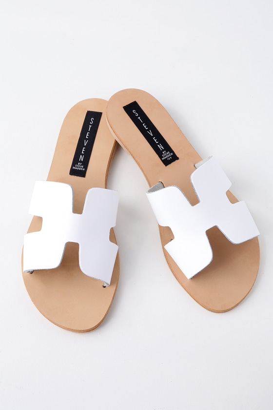 Steven by Steve Madden Greece - White Leather Slide Sandals
