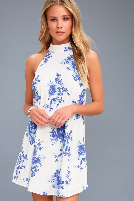 ce73bf2fa36 Cute Blue and White Print Dress - Floral Print Dress