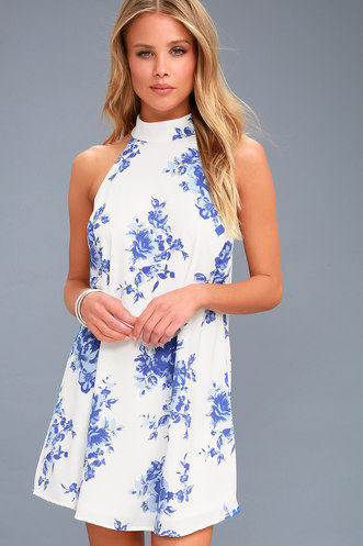 63aafd32097 Darling Dearest Blue and White Floral Print Swing Dress