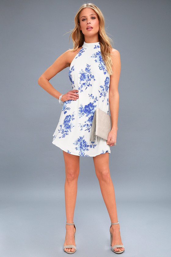08d441b0197a Darling Dearest Blue and White Floral Print Swing Dress