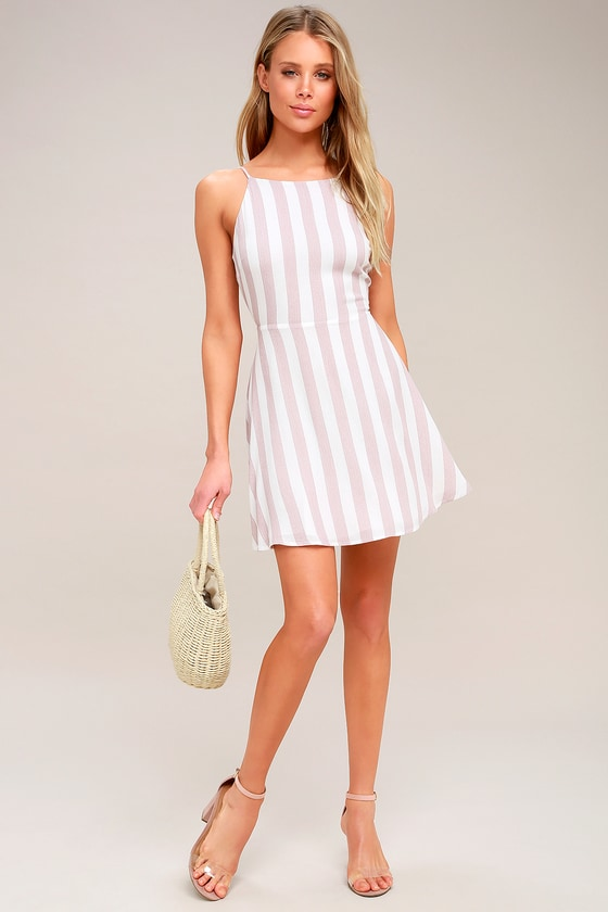 7b70ebe5c311 Cute Striped Dress - Mauve and White Striped Tie-Back Dress