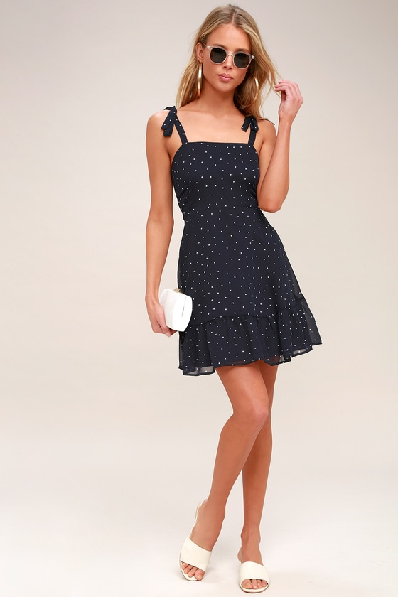 3dc9bb120596 Dotty About You Navy Blue and White Polka Dot Tie-Strap Dress