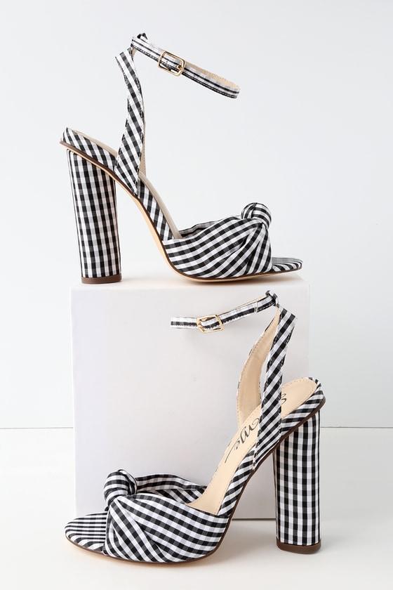 52acf9439638 Cute Gingham Heels - Peep-Toe Heels - Ankle Strap Heels