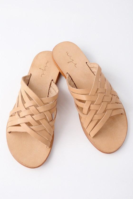 Lulus Coco Flesh Tan Leather Slide Sandal Heels - Lulus
