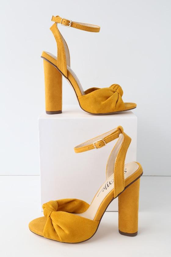 Lulus Nessa Mustard Suede Ankle Strap Heels - Lulus 9FxkZEs