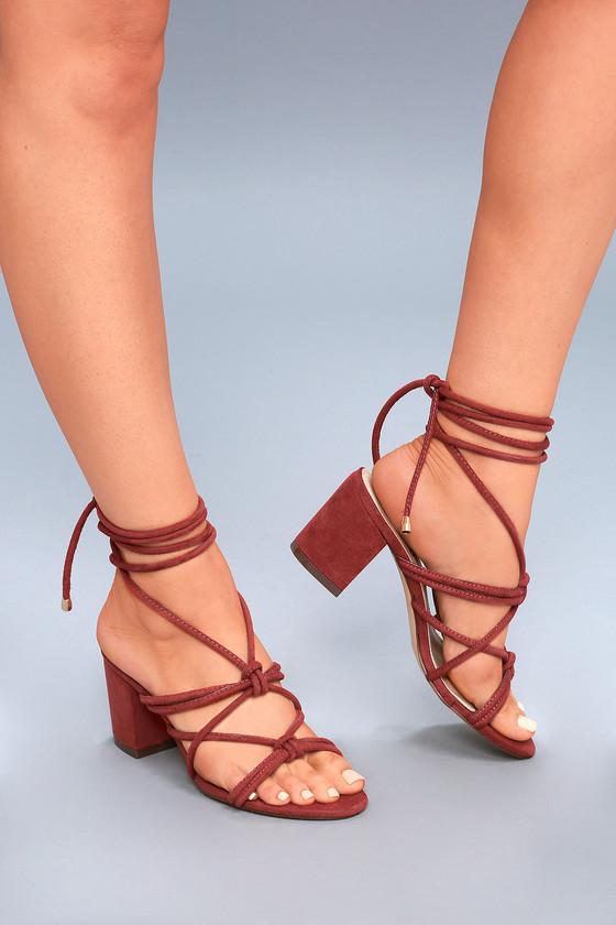 4c4ea949d3ae Chic Rust Red Heels - Lace-Up Heels - Vegan Suede Heels