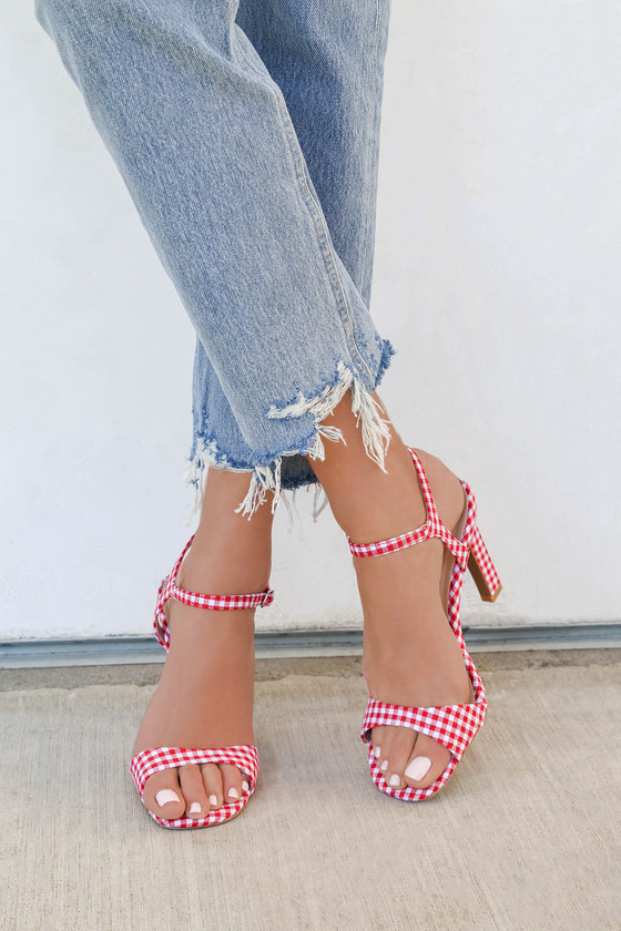 Lulus Sardinia Gingham Dress Sandal Heels - Lulus agCcht