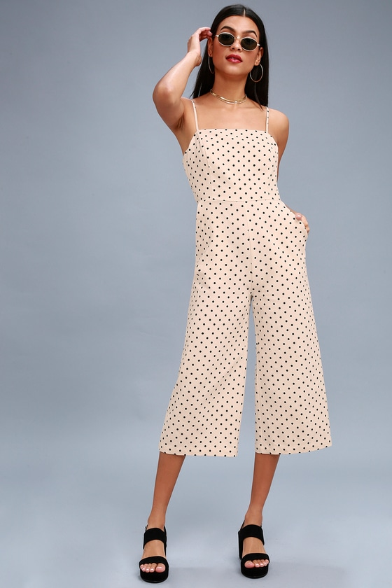 ae3c788979fa San Clemente Black and Cream Polka Dot Culotte Jumpsuit