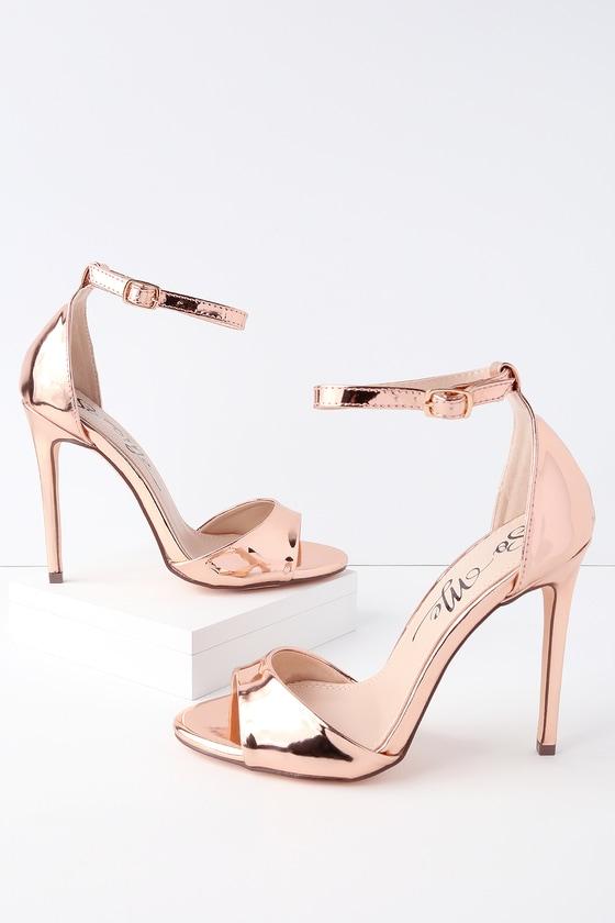 3539fc31001a Rose Gold Heels - Patent Ankle Strap Heels - Peep-Toe Heels