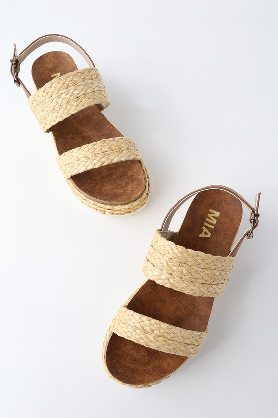 2d7460ed7 MIA Ava - Raffia Sandals - Flatform Sandals - Platform Shoes
