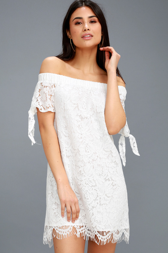 934b367dffe0a Elegant White Dress - Lace Shift Dress - OTS Shift Dress