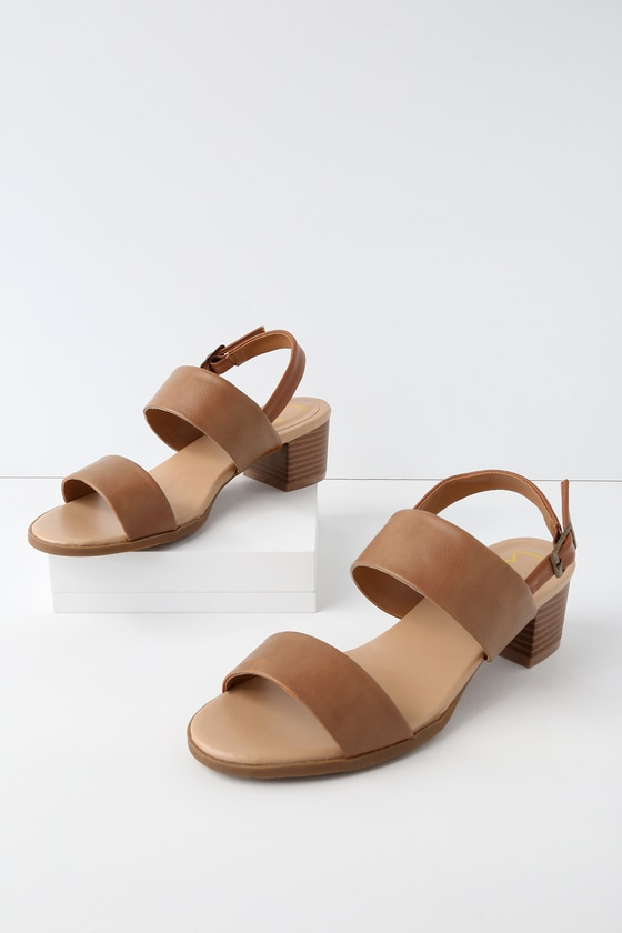 Lulus Coco Flesh Tan Leather Slide Sandal Heels - Lulus CQJFC