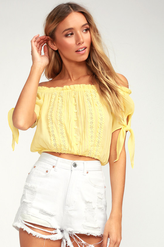 Sunny Day Yellow Embroidered Off The Shoulder Crop Top by Lulus