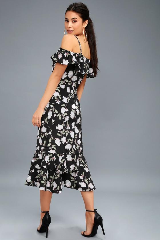 8c8801be3d J.O.A. Eugenia - Floral Midi Dress - Off-the-Shoulder Dress
