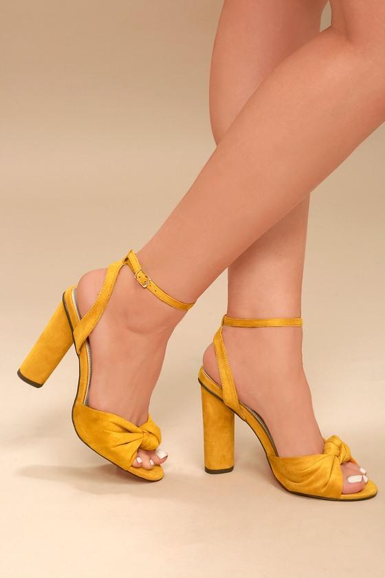Cute Yellow Suede Heels - Peep-Toe Heels - Ankle Strap Heels e937320151