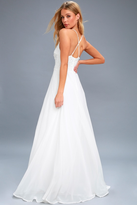 Stunning White Crotchet Lace Bridal Dress White Maxi Dress