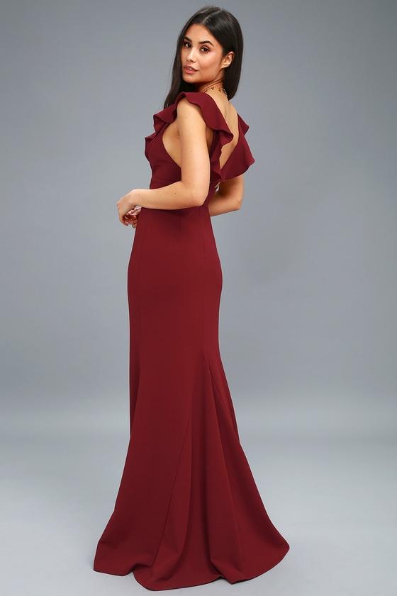 44de5486693a Lovely Burgundy Dress - Maxi Dress - Mermaid Maxi - Gown