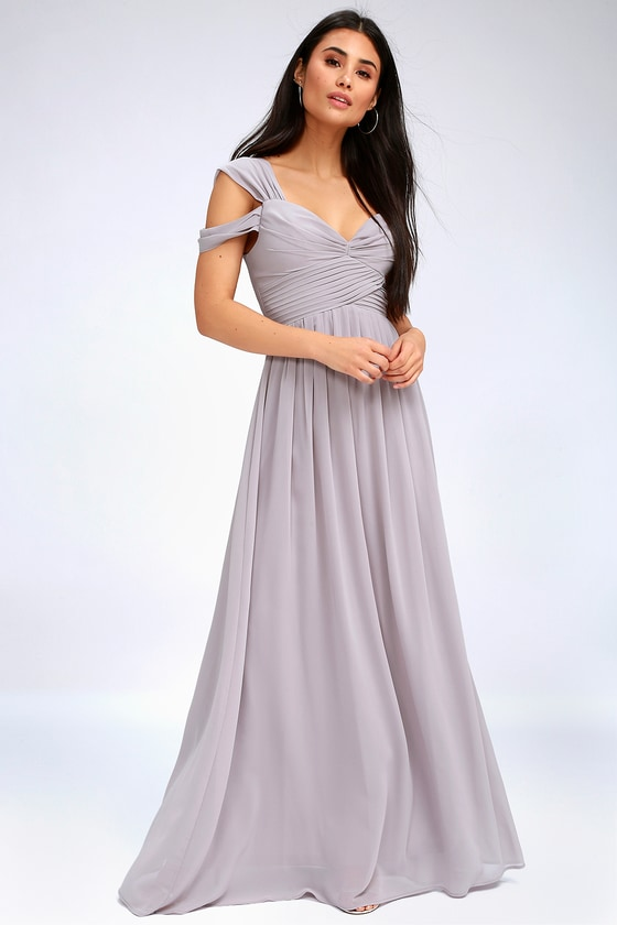 5b6102b38d915 Lovely Grey Dress - Maxi Dress - Grey Bridesmaid Dress