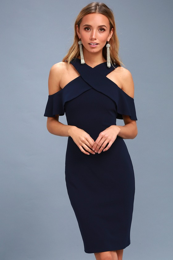 e0158c0b82d1 Navy Blue Dress - Bodycon Dress - Off-the-Shoulder Dress