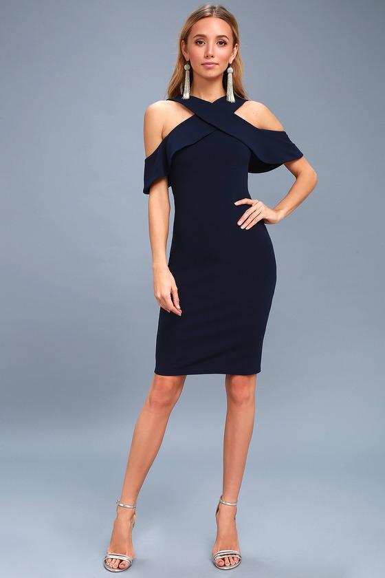 e0158c0b82d1 Navy Blue Dress - Bodycon Dress - Off-the-Shoulder Dress