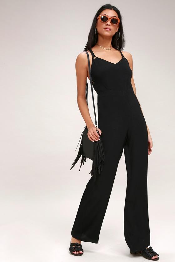 dda3e734823 Cute Black Jumpsuit - Wide-Leg Jumpsuit - Backless Jumpsuit