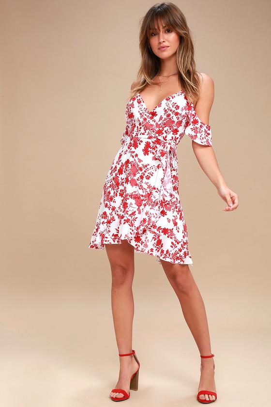f37fafa56d8 Red Floral Print Dress - Off-the-Shoulder Dress - Wrap Dress