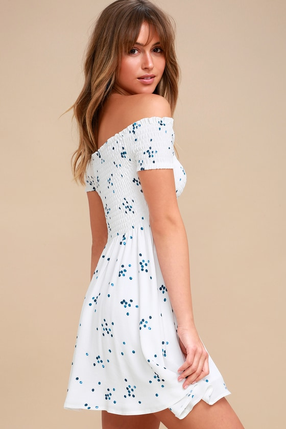 Santa Monica Pier Blue and White Print Off-the-Shoulder Dress