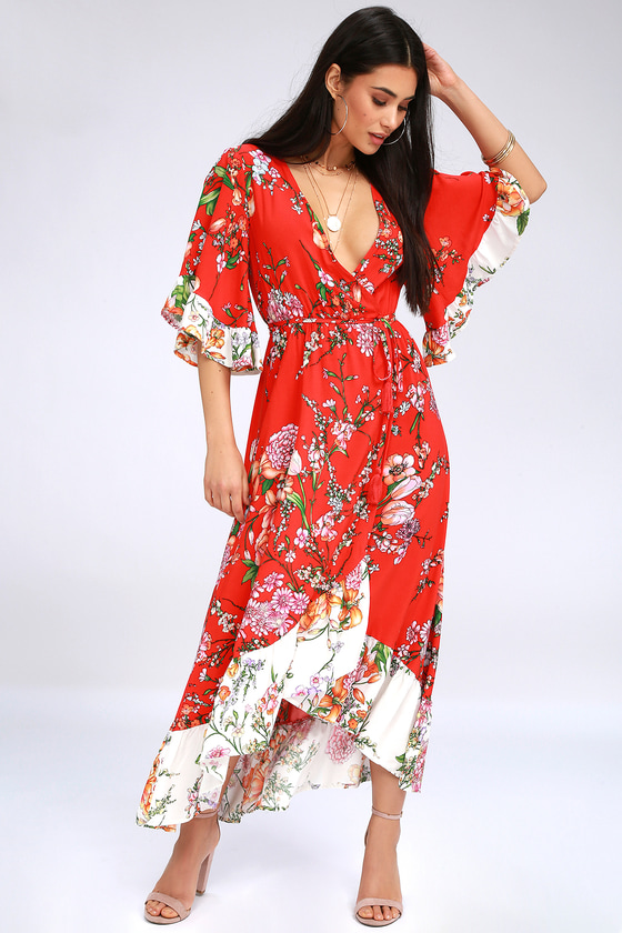 7e4329a8085 Chic Floral Print Wrap Dress - High-Low Dress - Midi Dress