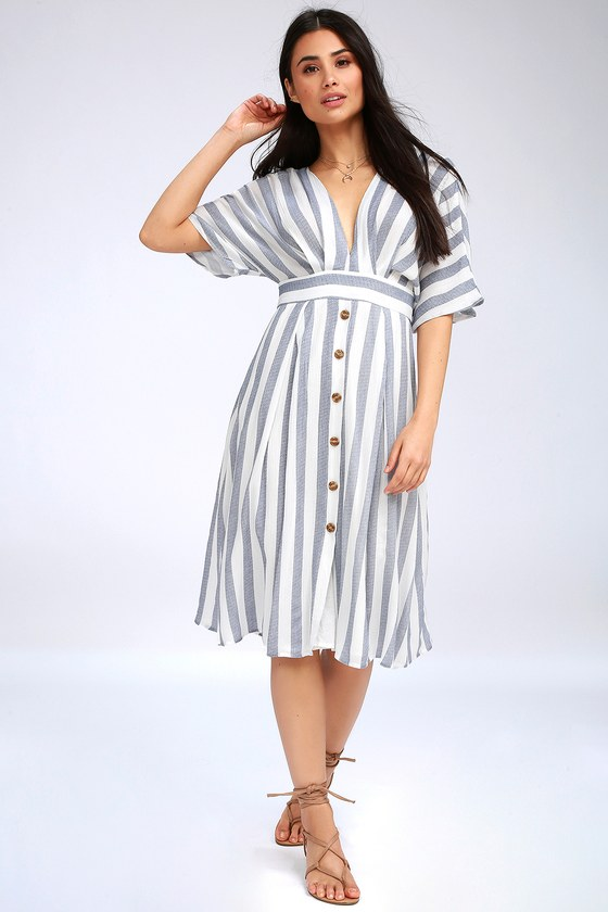 2cdb66a79ae Cute Blue and White Dress - Midi Dress - Striped Dress