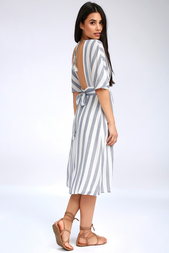 294710f4f96 Cute Blue and White Dress - Midi Dress - Striped Dress