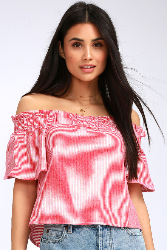 f736eea8bab25 Seas the Day Red and White Striped Off-the-Shoulder Top