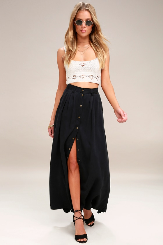 32ed04141 Cute Washed Black Skirt - Maxi Skirt - Button-Up Skirt