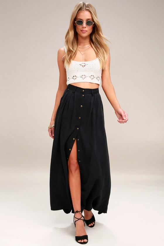 04ec8b2db5 Cute Washed Black Skirt - Maxi Skirt - Button-Up Skirt