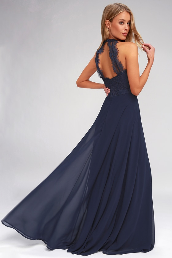 971543e4ea Elegant Maxi Dress - Lace Maxi Dress - Navy Blue Maxi Dress