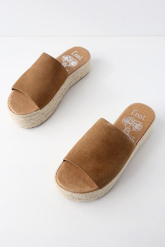 Lulus Bory Light Genuine Suede Leather Flatform Espadrille Slides - Lulus 1OpgB