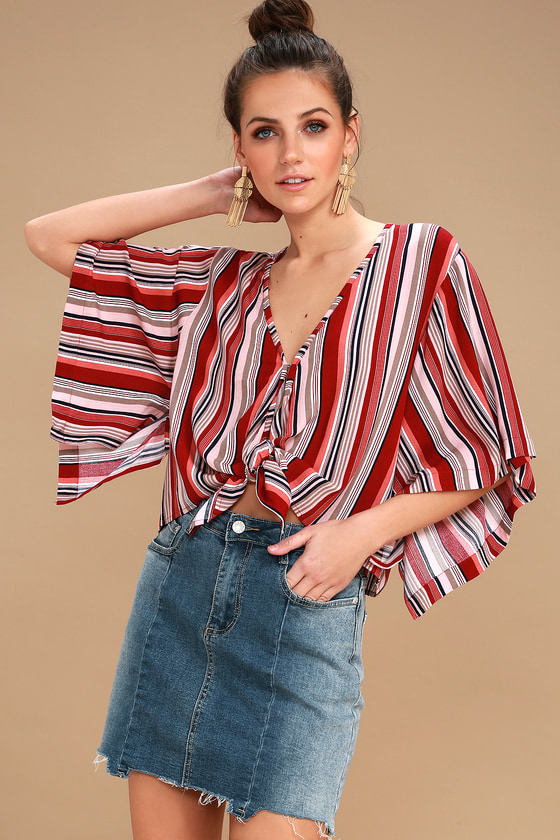 84e33372edab09 Cute Rust Red Top - Striped Top - Tie-Front Crop Top