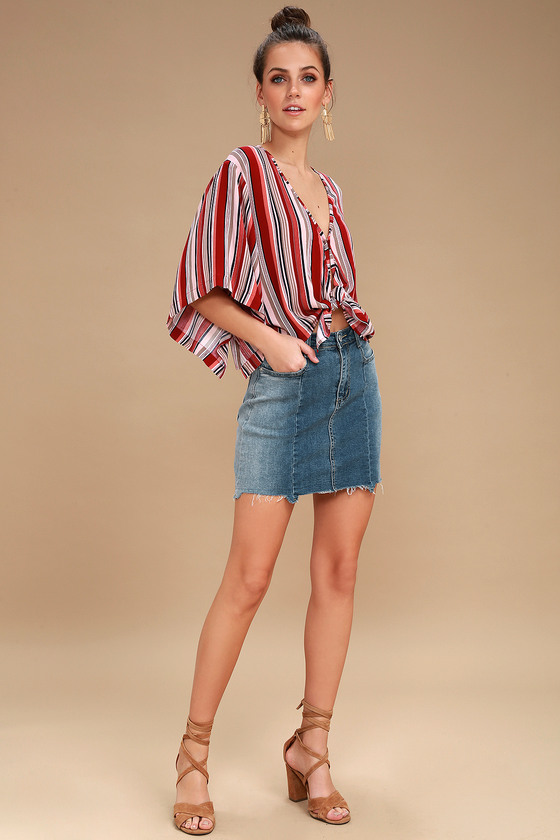 52611260ed0d11 Cute Rust Red Top - Striped Top - Tie-Front Crop Top